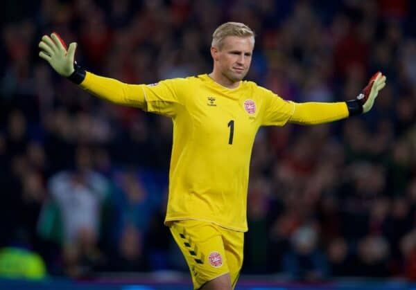 CARDIFF, WALES - Friday, November 16, 2018: Denmark's goalkeeper Kasper Schmeichel during the UEFA Nations League Group Stage League B Group 4 match between Wales and Denmark at the Cardiff City Stadium. (Pic by David Rawcliffe/Propaganda)