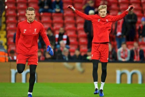 LIVERPOOL, ENGLAND - Sunday, December 2, 2018: Liverpool's substitute goalkeeper Simon Mignolet (L) and goalkeeper Caoimhin Kelleher during the pre-match warm-up before the FA Premier League match between Liverpool FC and Everton FC at Anfield, the 232nd Merseyside Derby. (Pic by Paul Greenwood/Propaganda)
