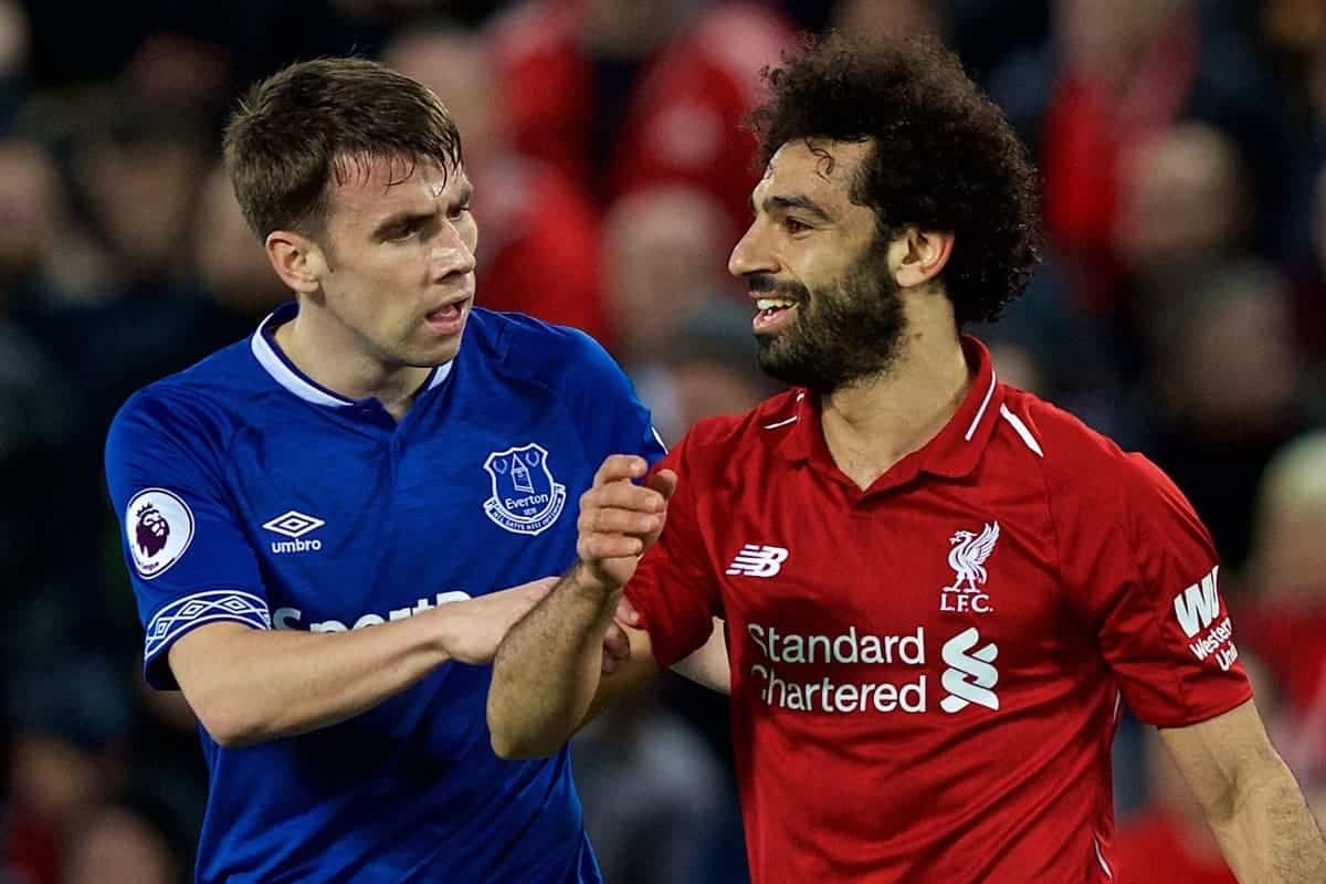 LIVERPOOL, ENGLAND - Sunday, December 2, 2018: Liverpool's Mohamed Salah walks off as he is substituted as Everton's Seamus Coleman grabs his arm during the FA Premier League match between Liverpool FC and Everton FC at Anfield, the 232nd Merseyside Derby. (Pic by Paul Greenwood/Propaganda)