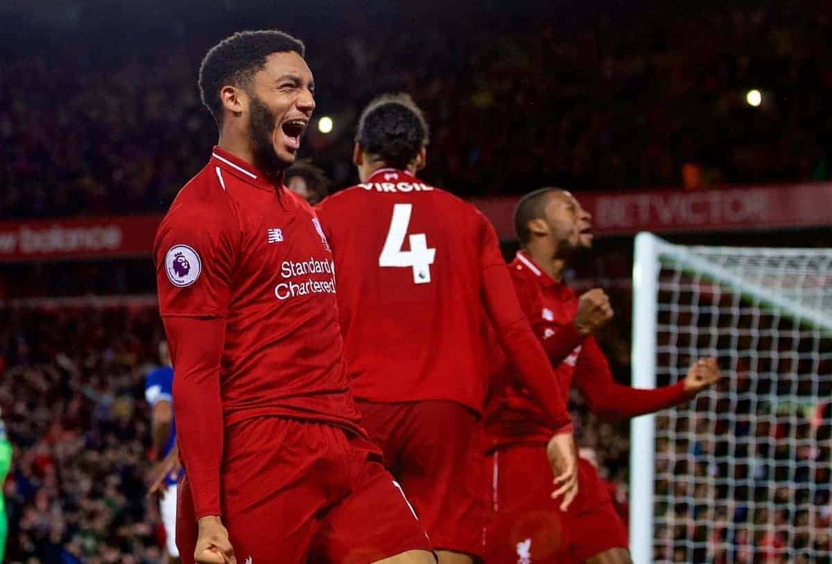 LIVERPOOL, ENGLAND - Sunday, December 2, 2018: Liverpool's Joe Gomez celebrates a dramatic injury time goal from team-mate Divock Origi during the FA Premier League match between Liverpool FC and Everton FC at Anfield, the 232nd Merseyside Derby. (Pic by Paul Greenwood/Propaganda)