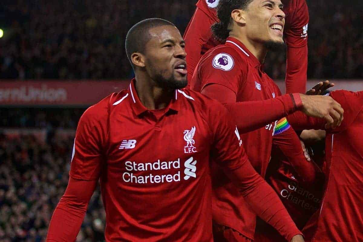 LIVERPOOL, ENGLAND - Sunday, December 2, 2018: Liverpool's Divock Origi (2nd from R) celebrate scoring a dramatic injury time goal to seal a 1-0 victory over Everton with team-mates Georginio Wijnaldum, Virgil van Dijk, Andy Robertson and Joe Gomez during the FA Premier League match between Liverpool FC and Everton FC at Anfield, the 232nd Merseyside Derby. (Pic by Paul Greenwood/Propaganda)