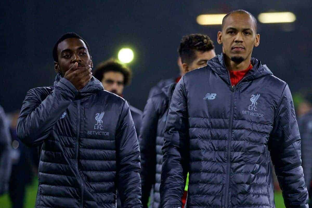 BURNLEY, ENGLAND - Wednesday, December 5, 2018: Liverpool's substitutes Rafael Camacho (L) and Fabio Henrique Tavares 'Fabinho' before the FA Premier League match between Burnley FC and Liverpool FC at Turf Moor. (Pic by David Rawcliffe/Propaganda)