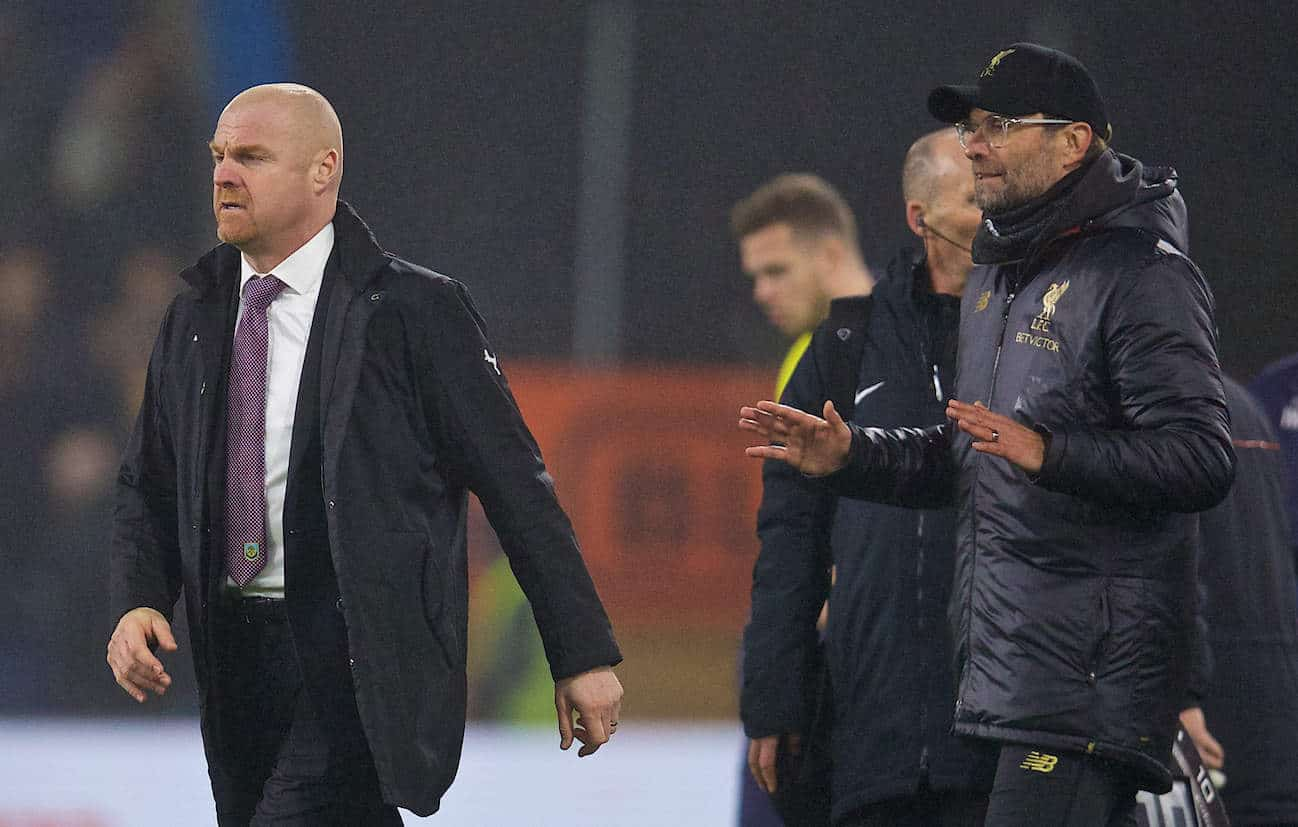 BURNLEY, ENGLAND - Wednesday, December 5, 2018: Burnley's manager Sean Dyche and Liverpool's manager J¸rgen Klopp exchange words after the FA Premier League match between Burnley FC and Liverpool FC at Turf Moor. Liverpool won 3-1. (Pic by David Rawcliffe/Propaganda)