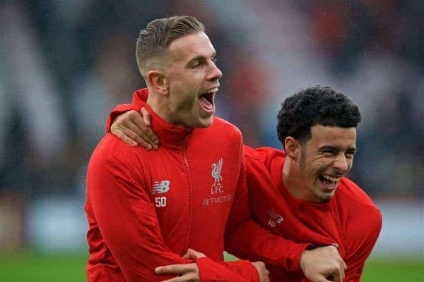 BOURNEMOUTH, ENGLAND - Saturday, December 8, 2018: Liverpool's captain Jordan Henderson and Curtis Jones before the FA Premier League match between AFC Bournemouth and Liverpool FC at the Vitality Stadium. (Pic by David Rawcliffe/Propaganda)