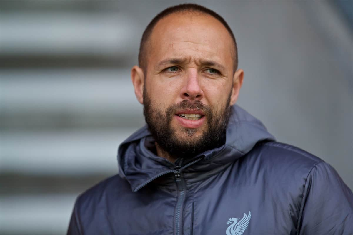 ST HELENS, ENGLAND - Monday, December 10, 2018: Liverpool's manager Barry Lewtas before the UEFA Youth League Group C match between Liverpool FC and SSC Napoli at Langtree Park. (Pic by David Rawcliffe/Propaganda)