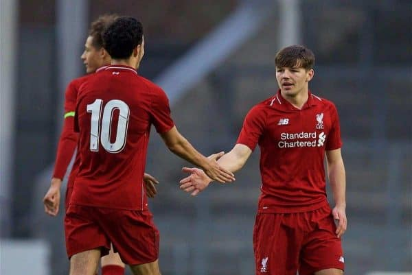 ST HELENS, ENGLAND - Monday, December 10, 2018: Liverpool's substitute Bobby Duncan celebrates scoring the fifth goal during the UEFA Youth League Group C match between Liverpool FC and SSC Napoli at Langtree Park. (Pic by David Rawcliffe/Propaganda)