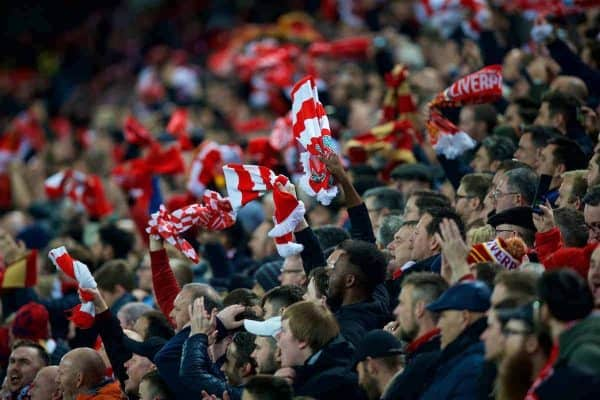 LIVERPOOL, ENGLAND - Tuesday, December 11, 2018: Liverpool supporters wave scarves as they celebrate the first goal during the UEFA Champions League Group C match between Liverpool FC and SSC Napoli at Anfield. (Pic by David Rawcliffe/Propaganda)