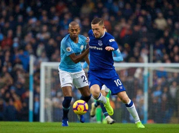 MANCHESTER, ENGLAND - Saturday, December 15, 2018: Everton's captain Gylfi Sigurdsson (R) and Manchester City's Fernando Luiz Roza 'Fernandinho' during the FA Premier League match between Manchester City FC and Everton FC at the Etihad Stadium, the 232nd Merseyside Derby. (Pic by David Rawcliffe/Propaganda)
