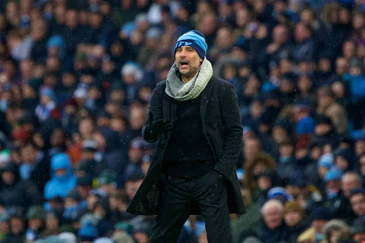 MANCHESTER, ENGLAND - Saturday, December 15, 2018: Manchester City's manager Pep Guardiola during the FA Premier League match between Manchester City FC and Everton FC at the Etihad Stadium, the 232nd Merseyside Derby. (Pic by David Rawcliffe/Propaganda)