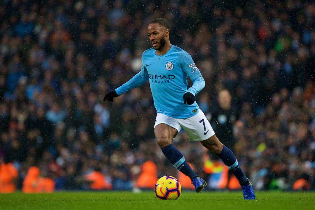 MANCHESTER, ENGLAND - Saturday, December 15, 2018: Manchester City's Raheem Sterling during the FA Premier League match between Manchester City FC and Everton FC at the Etihad Stadium, the 232nd Merseyside Derby. (Pic by David Rawcliffe/Propaganda)