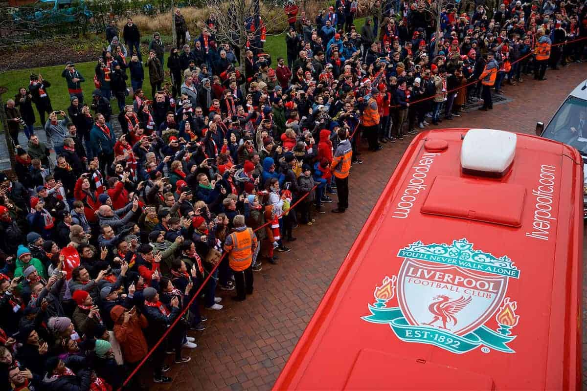 LIVERPOOL, ENGLAND - Sunday, December 16, 2018: Liverpool supporters take photographs of the team bus arriving before the FA Premier League match between Liverpool FC and Manchester United FC at Anfield. (Pic by David Rawcliffe/Propaganda)