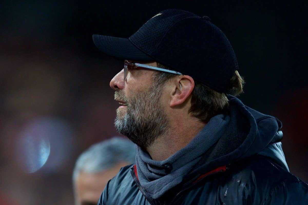 LIVERPOOL, ENGLAND - Sunday, December 16, 2018: Liverpool's manager J¸rgen Klopp before the FA Premier League match between Liverpool FC and Manchester United FC at Anfield. (Pic by David Rawcliffe/Propaganda)