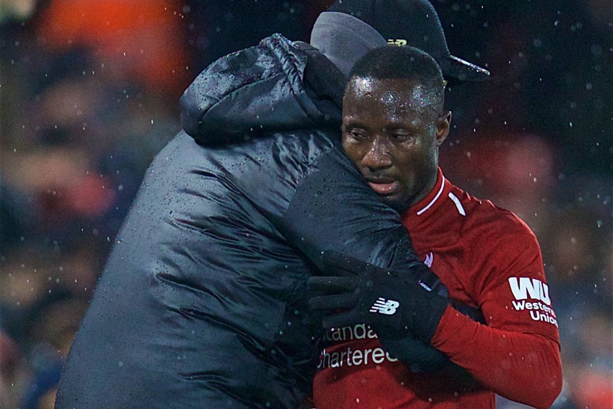 LIVERPOOL, ENGLAND - Sunday, December 16, 2018: Liverpool's Naby Keita embraces with manager J¸rgen Klopp after being substituted during the FA Premier League match between Liverpool FC and Manchester United FC at Anfield. (Pic by David Rawcliffe/Propaganda)