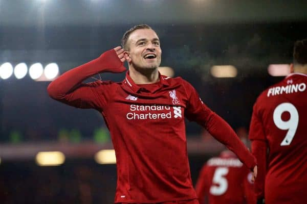 LIVERPOOL, ENGLAND - Sunday, December 16, 2018: Liverpool's Xherdan Shaqiri celebrates scoring the third goal, his second, during the FA Premier League match between Liverpool FC and Manchester United FC at Anfield. Liverpool won 3-1. (Pic by David Rawcliffe/Propaganda)