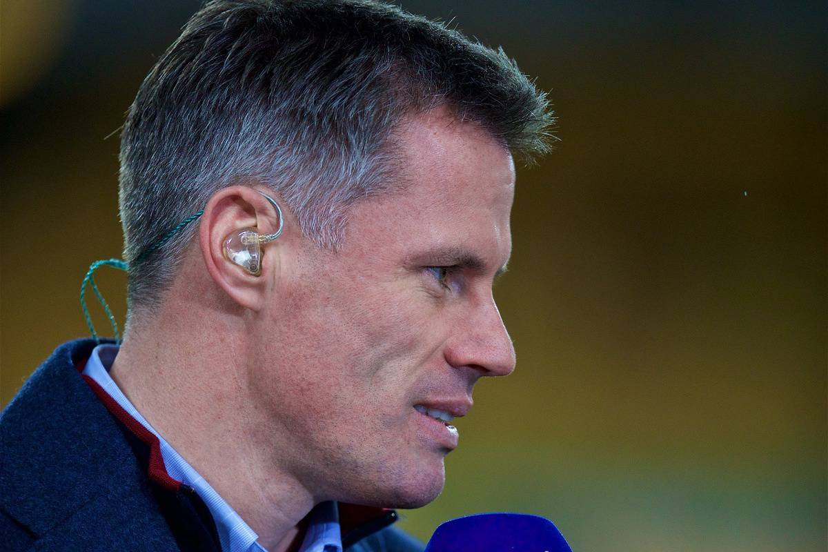 WOLVERHAMPTON, ENGLAND - Friday, December 21, 2018: Former Liverpool player Jamie Carragher working for Sky Sports before the FA Premier League match between Wolverhampton Wanderers FC and Liverpool FC at Molineux Stadium. (Pic by David Rawcliffe/Propaganda)