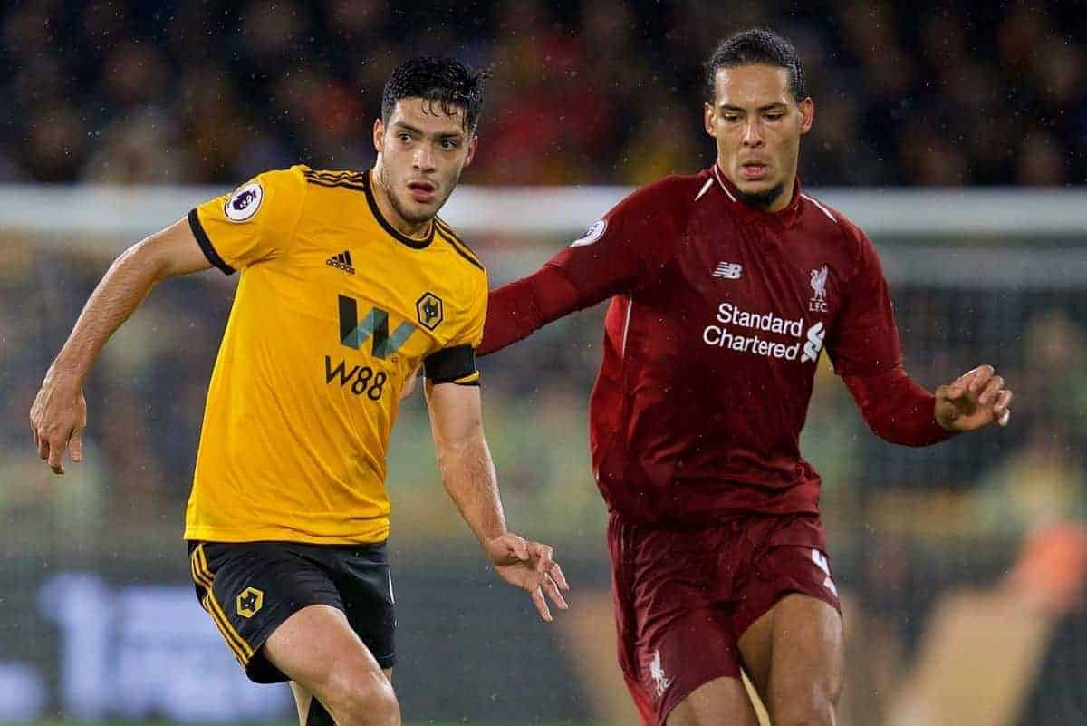 WOLVERHAMPTON, ENGLAND - Friday, December 21, 2018: Wolverhampton Wanderers' Raúl Jiménez and Liverpool's Virgil van Dijk (R) during the FA Premier League match between Wolverhampton Wanderers FC and Liverpool FC at Molineux Stadium. (Pic by David Rawcliffe/Propaganda)