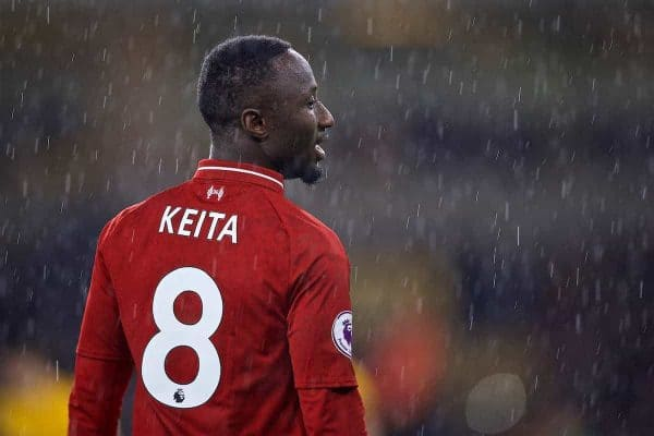 WOLVERHAMPTON, ENGLAND - Friday, December 21, 2018: Liverpool's Naby Keita during the FA Premier League match between Wolverhampton Wanderers FC and Liverpool FC at Molineux Stadium. (Pic by David Rawcliffe/Propaganda)