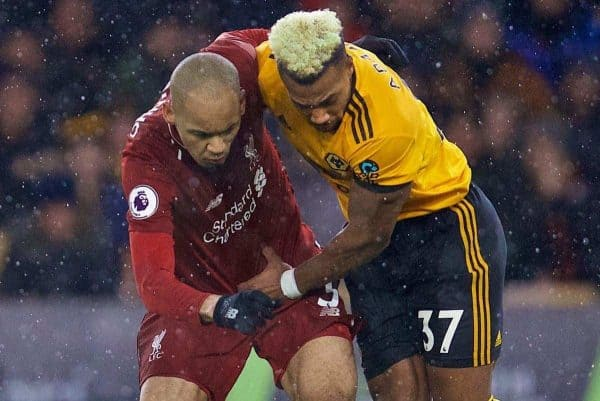 Liverpool's Fabio Henrique Tavares 'Fabinho' and Wolverhampton Wanderers' Adama Traoré during the FA Premier League match between Wolverhampton Wanderers FC and Liverpool FC at Molineux Stadium. (Pic by David Rawcliffe/Propaganda)