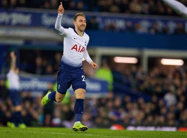 LIVERPOOL, ENGLAND - Sunday, December 23, 2018: Tottenham Hotspur's Christian Eriksen celebrates scoring the fourth goal during the FA Premier League match between Everton FC and Tottenham Hotspur FC at Goodison Park. (Pic by David Rawcliffe/Propaganda)
