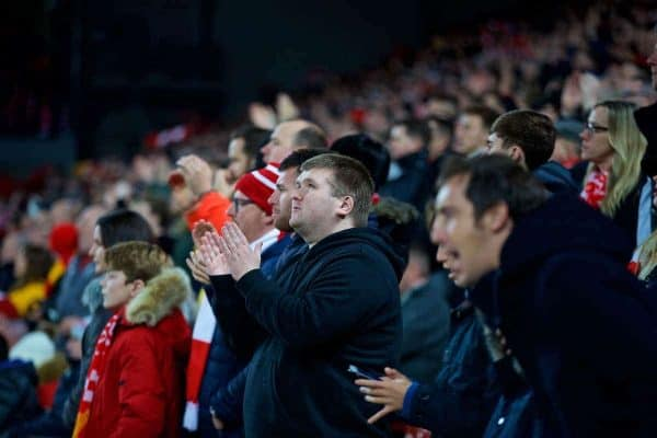 LIVERPOOL, ENGLAND - Saturday, December 29, 2018: Blind Liverpool supporter Mike Kearney during the FA Premier League match between Liverpool FC and Arsenal FC at Anfield. (Pic by David Rawcliffe/Propaganda)