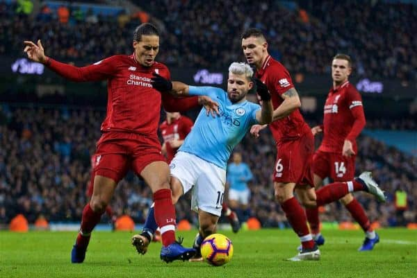 MANCHESTER, ENGLAND - Thursday, January 3, 2019: Liverpool's Virgil van Dijk (L), Dejan Lovren (R) and Manchester City's Sergio Aguero (C) during the FA Premier League match between Manchester City FC and Liverpool FC at the Etihad Stadium. (Pic by David Rawcliffe/Propaganda)