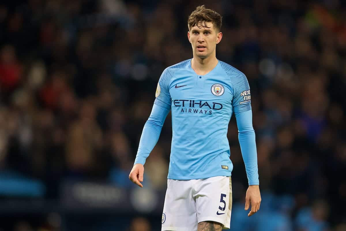 Manchester City's John Stones during the FA Premier League match between Manchester City FC and Liverpool FC at the Etihad Stadium. (Pic by David Rawcliffe/Propaganda)