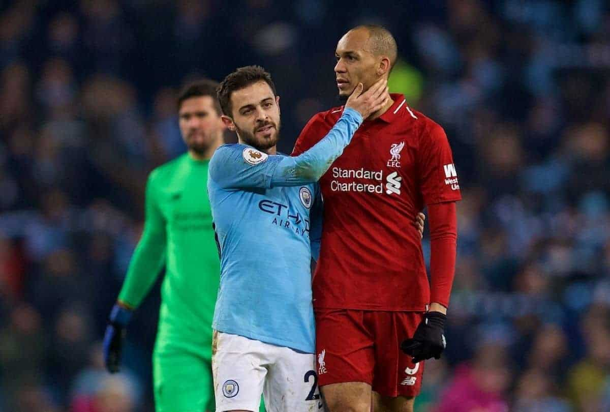 Manchester City's Bernardo Silva (L) and Liverpool's Fabio Henrique Tavares 'Fabinho' after the FA Premier League match between Manchester City FC and Liverpool FC at the Etihad Stadium. Manchester City won 2-1. (Pic by David Rawcliffe/Propaganda)