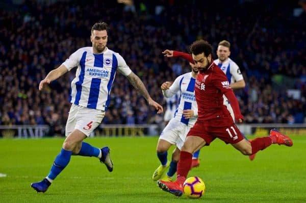 BRIGHTON AND HOVE, ENGLAND - Saturday, January 12, 2019: Liverpool's Mohamed Salah (R) and Brighton & Hove Albion's Shane Duffy during the FA Premier League match between Brighton & Hove Albion FC and Liverpool FC at the American Express Community Stadium. (Pic by David Rawcliffe/Propaganda)