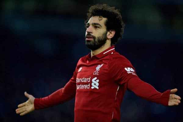 BRIGHTON AND HOVE, ENGLAND - Saturday, January 12, 2019: Liverpool's Mohamed Salah celebrates scoring the winning goal from a penalty kick during the FA Premier League match between Brighton & Hove Albion FC and Liverpool FC at the American Express Community Stadium. Liverpool won 1-0. (Pic by David Rawcliffe/Propaganda)