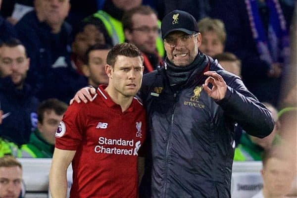 BRIGHTON AND HOVE, ENGLAND - Saturday, January 12, 2019: Liverpool's manager J¸rgen Klopp prepares to bring on substitute captain James Milner during the FA Premier League match between Brighton & Hove Albion FC and Liverpool FC at the American Express Community Stadium. (Pic by David Rawcliffe/Propaganda)