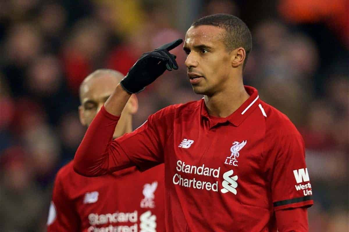 LIVERPOOL, ENGLAND - Saturday, January 19, 2019: Liverpool's Joel Matip during the FA Premier League match between Liverpool FC and Crystal Palace FC at Anfield. (Pic by David Rawcliffe/Propaganda)