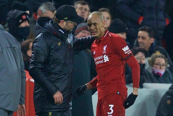 LIVERPOOL, ENGLAND - Saturday, January 19, 2019: Liverpool's Fabio Henrique Tavares 'Fabinho' speaks with manager J¸rgen Klopp after being substituted with an injury during the FA Premier League match between Liverpool FC and Crystal Palace FC at Anfield. (Pic by David Rawcliffe/Propaganda)