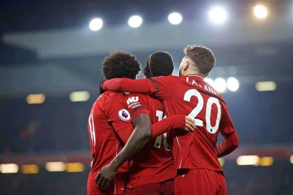 LIVERPOOL, ENGLAND - Saturday, January 19, 2019: Liverpool's Sadio Mane (C) celebrates scoring the fourth goal with team-mates Mohamed Salah (L) and Adam Lallana (R) during the FA Premier League match between Liverpool FC and Crystal Palace FC at Anfield. (Pic by David Rawcliffe/Propaganda)