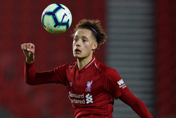 ST HELENS, ENGLAND - Monday, January 21, 2019: Liverpool's Rhys Williams during the FA Youth Cup 4th Round match between Liverpool FC and Accrington Stanley FC at Langtree Park. (Pic by Paul Greenwood/Propaganda)