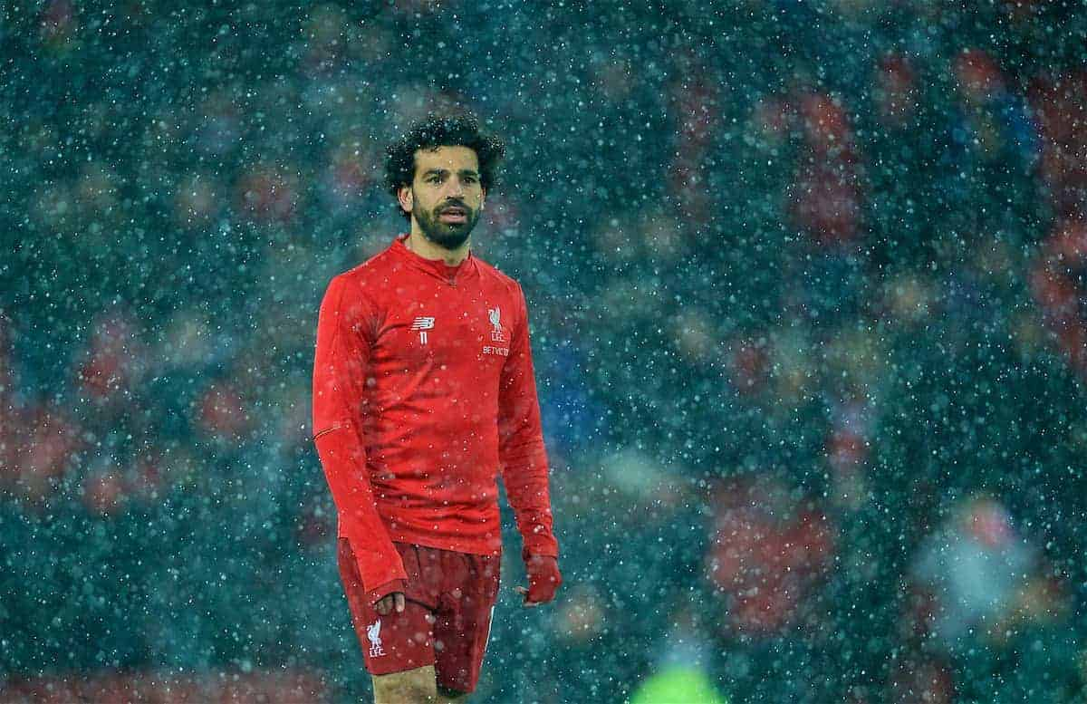 Mohamed Salah, in snow, Anfield, warm-up (Pic by David Rawcliffe/Propaganda)