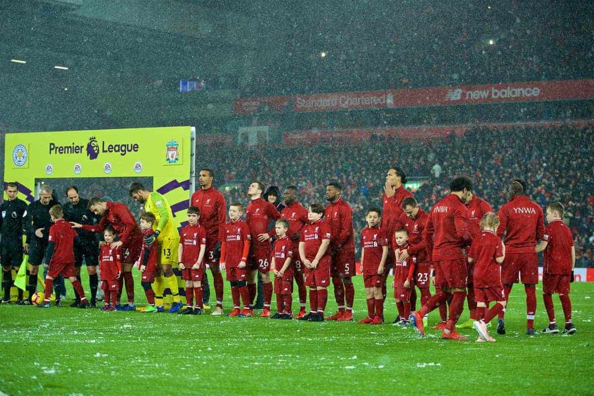 LIVERPOOL, ENGLAND - Wednesday, January 30, 2019: Liverpool players line-up with mascots before the FA Premier League match between Liverpool FC and Leicester City FC at Anfield. (Pic by David Rawcliffe/Propaganda)