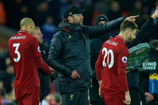 LIVERPOOL, ENGLAND - Wednesday, January 30, 2019: Liverpool's manager J¸rgen Klopp prepares to bring on substitutes Fabio Henrique Tavares 'Fabinho' and Adam Lallana during the FA Premier League match between Liverpool FC and Leicester City FC at Anfield. (Pic by David Rawcliffe/Propaganda)