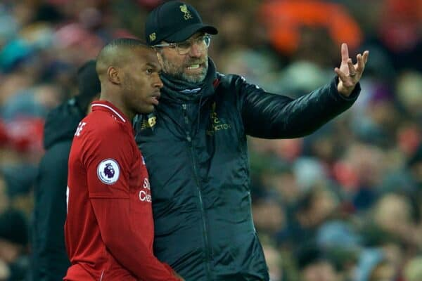 LIVERPOOL, ENGLAND - Wednesday, January 30, 2019: Liverpool's manager Jürgen Klopp prepares to bring on substitute Daniel Sturridge during the FA Premier League match between Liverpool FC and Leicester City FC at Anfield. (Pic by David Rawcliffe/Propaganda)