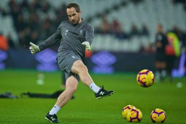 LONDON, ENGLAND - Monday, February 4, 2019: Liverpool's goalkeeping coach Jack Robinson during the pre-match warm-up before the FA Premier League match between West Ham United FC and Liverpool FC at the London Stadium. (Pic by David Rawcliffe/Propaganda)