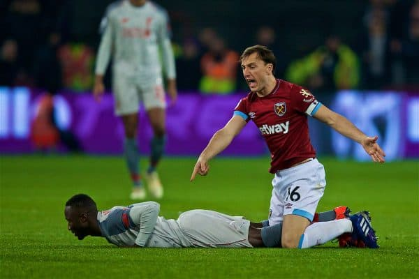 LONDON, ENGLAND - Monday, February 4, 2019: West Ham United'ss captain Mark Noble protests after fouling Liverpool's Naby Keita during the FA Premier League match between West Ham United FC and Liverpool FC at the London Stadium. (Pic by David Rawcliffe/Propaganda)