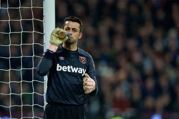 LONDON, ENGLAND - Monday, February 4, 2019: West Ham United's goalkeeper Lukasz Fabia?ski during the FA Premier League match between West Ham United FC and Liverpool FC at the London Stadium. (Pic by David Rawcliffe/Propaganda)