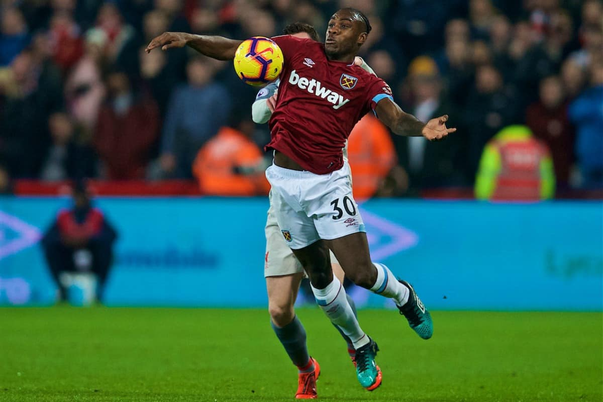 ONDON, ENGLAND - Monday, February 4, 2019: West Ham United's Michail Antonio during the FA Premier League match between West Ham United FC and Liverpool FC at the London Stadium. (Pic by David Rawcliffe/Propaganda)