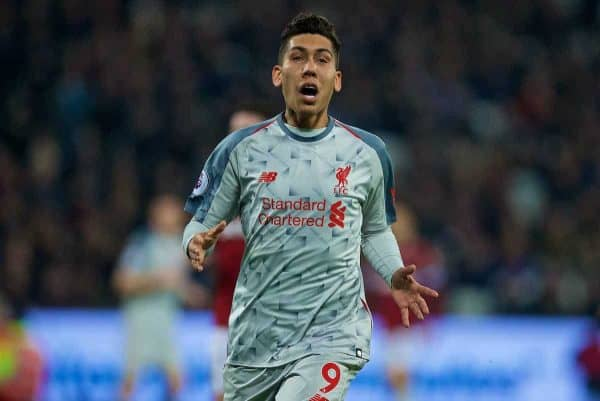 LONDON, ENGLAND - Monday, February 4, 2019: Liverpool's Roberto Firmino during the FA Premier League match between West Ham United FC and Liverpool FC at the London Stadium. (Pic by David Rawcliffe/Propaganda)