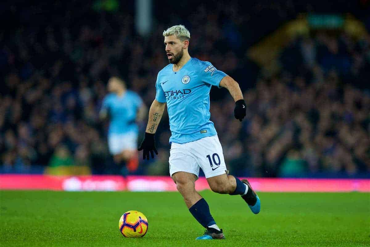 LIVERPOOL, ENGLAND - Wednesday, February 6, 2019: Manchester City's Sergio Aguero during the FA Premier League match between Everton FC and Manchester City FC at Goodison Park. (Pic by David Rawcliffe/Propaganda)