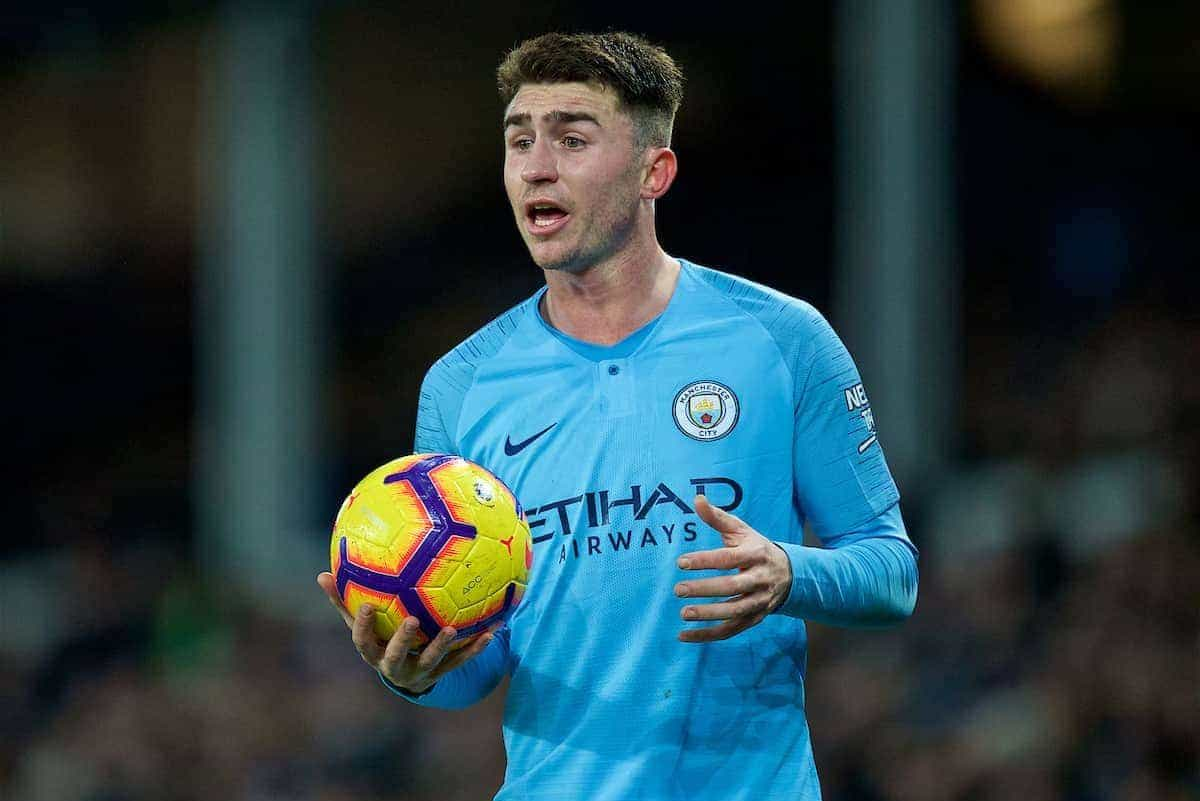 LIVERPOOL, ENGLAND - Wednesday, February 6, 2019: Manchester City's Aymeric Laporte during the FA Premier League match between Everton FC and Manchester City FC at Goodison Park. (Pic by David Rawcliffe/Propaganda)