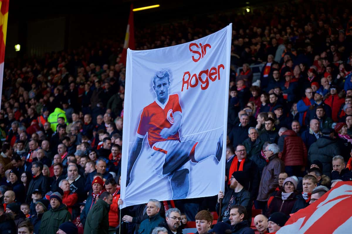 LIVERPOOL, ENGLAND - Saturday, February 9, 2019: Liverpool supporters' banner of 'Sir' Roger Hunt during the FA Premier League match between Liverpool FC and AFC Bournemouth at Anfield. (Pic by David Rawcliffe/Propaganda)