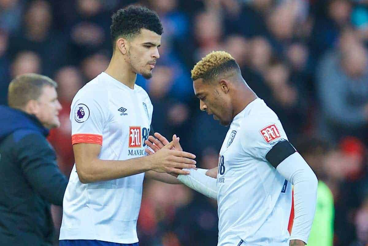 LIVERPOOL, ENGLAND - Saturday, February 9, 2019: AFC Bournemouth's Jordon Ibe is replaced by substitute Dominic Solanke during the FA Premier League match between Liverpool FC and AFC Bournemouth at Anfield. (Pic by David Rawcliffe/Propaganda)