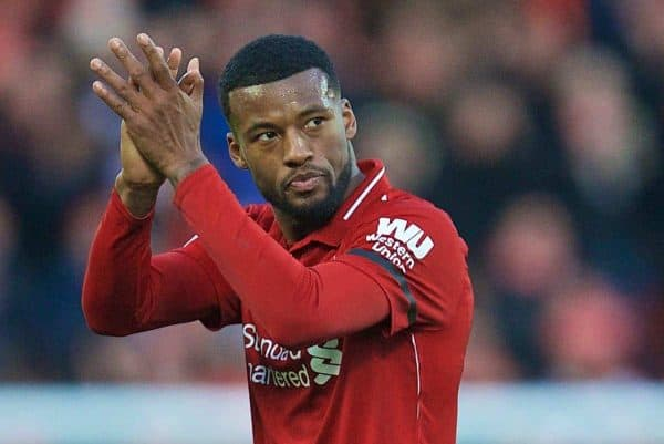 LIVERPOOL, ENGLAND - Saturday, February 9, 2019: Liverpool's goalscorer Georginio Wijnaldum applauds the supporters as he is substituted during the FA Premier League match between Liverpool FC and AFC Bournemouth at Anfield. (Pic by David Rawcliffe/Propaganda)