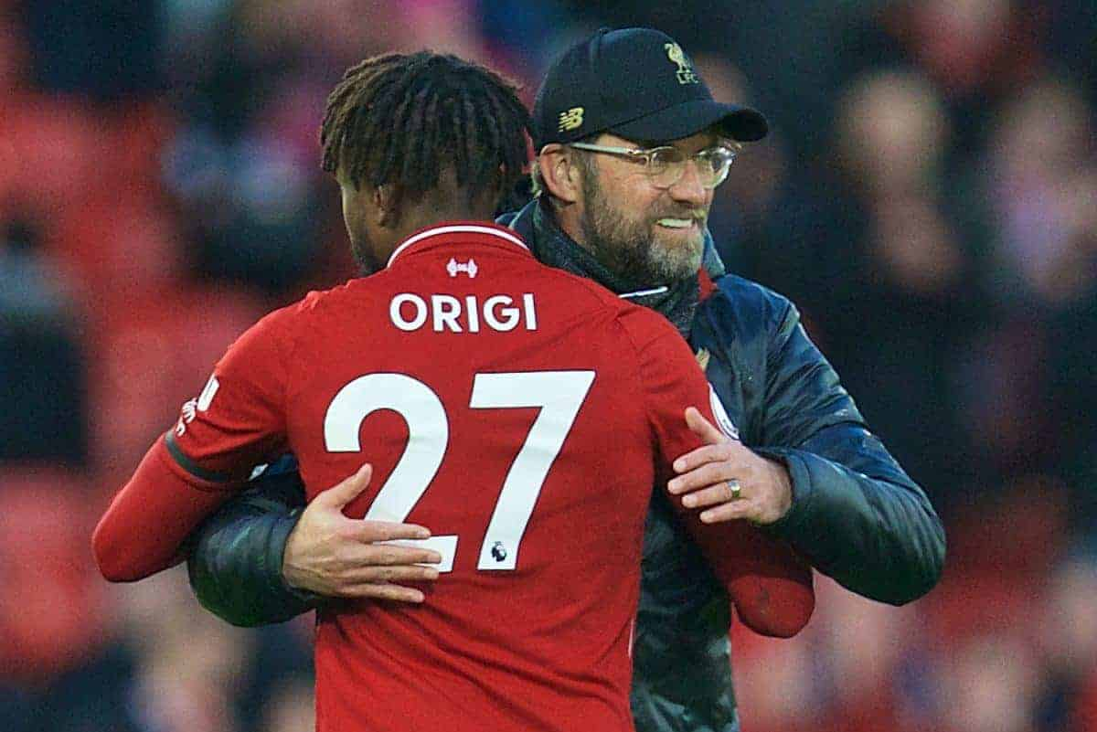 LIVERPOOL, ENGLAND - Saturday, February 9, 2019: Liverpool's manager J¸rgen Klopp embraces substitute Divock Origi after the 3-0 victory during the FA Premier League match between Liverpool FC and AFC Bournemouth at Anfield. (Pic by David Rawcliffe/Propaganda)