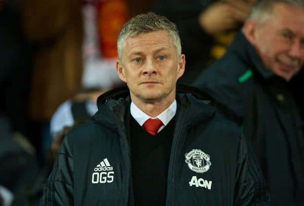 MANCHESTER, ENGLAND - Tuesday, February 12, 2019: Manchester United's manager Ole Gunnar Solskjær (Solskjaer) before the UEFA Champions League Round of 16 1st Leg match between Manchester United FC and Paris Saint-Germain at Old Trafford. (Pic by David Rawcliffe/Propaganda)